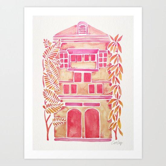Tropical House – Pink Ombré Art Print