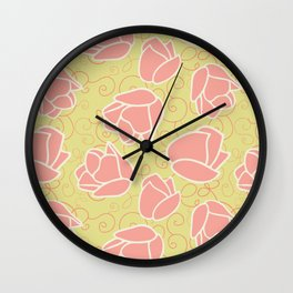 Spring Patio Collection - Coral Tulip Swirl Wall Clock