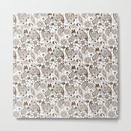Mehndi or Henna (Brown and White) Metal Print