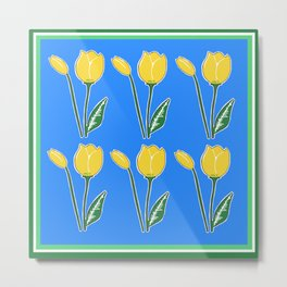 Yellow Tulips with Blue Pattern Metal Print
