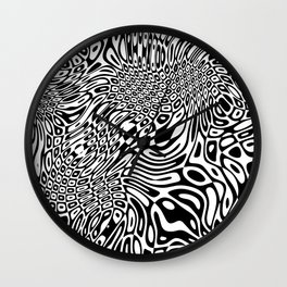 Black  and white psychedelic optical illusion Wall Clock