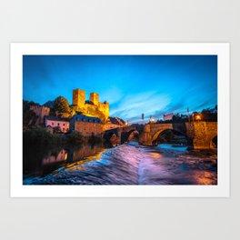 Old german Castle at night/ City: Runkel Art Print