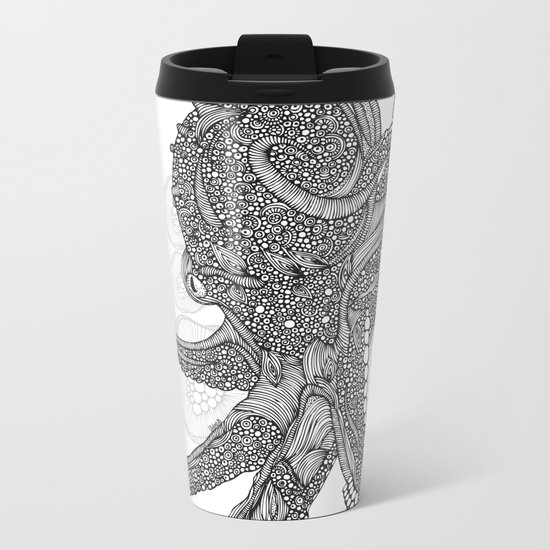 Octopus Bloom black and white Metal Travel Mug