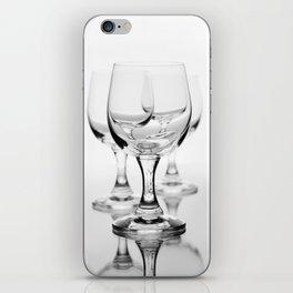 Three empty wine glasses on white iPhone Skin