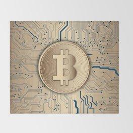 Bitcoin money gold Throw Blanket