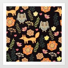 Сhildren's seamless with animals Art Print