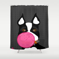 terrier Shower Curtains featuring Bubblegum Terrier by Designs By Misty Blue (Misty Lemons)