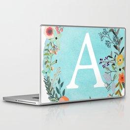 Personalized Monogram Initial Letter A Blue Watercolor Flower Wreath Artwork Laptop & iPad Skin