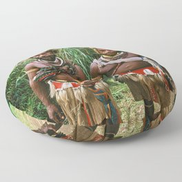 Papua New Guinea: Two Countryside Villagers Floor Pillow