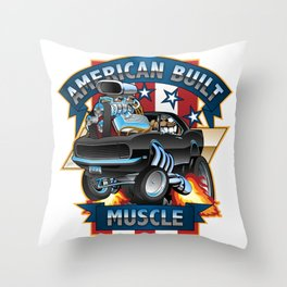 American Built Muscle - Classic Muscle Car Cartoon Illustration Throw Pillow