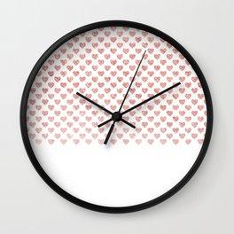 Chic trendy luxury faux pink glitter hearts Wall Clock