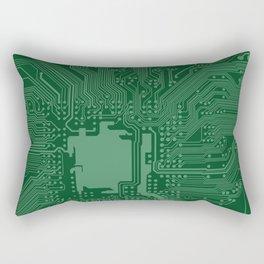 Green Geek Motherboard Circuit Pattern Rectangular Pillow