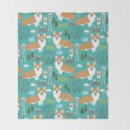 Corgi seattle washington welsh corgi pattern print dog lover gifts space needle ferris wheel coffee Throw Blanket