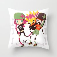 roller derby Throw Pillows featuring It's Roller Derby, sweetie! by Irene Dose