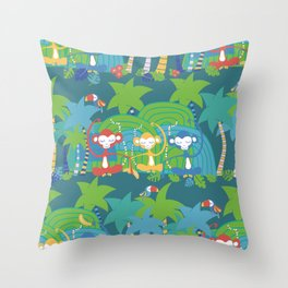 Monkeys Meditating in the Jungle Seamless Pattern Throw Pillow