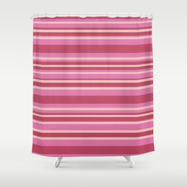 Pink & Yellow Stripes Shower Curtain