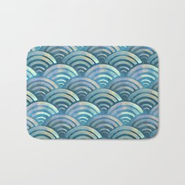Blue fish scales pattern Bath Mat