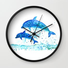 Dolphins, Blue dolphins, watercolor Wall Clock