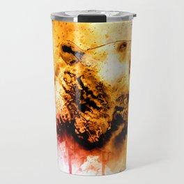 Watercolor Bear, Roaring Bear, Rustic Bear Art., Cabin Decor Travel Mug
