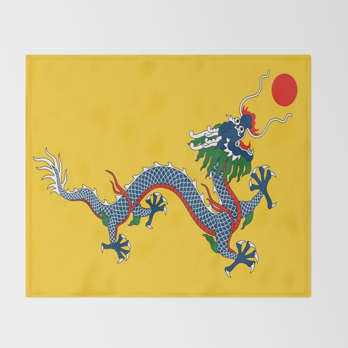 chinese dragon flag of qing dynasty throw blanket by oldking