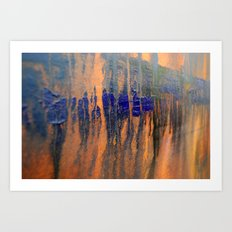 blue over orange Art Print