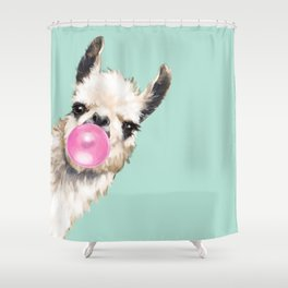 Bubble Gum Sneaky Llama In Green Shower Curtain