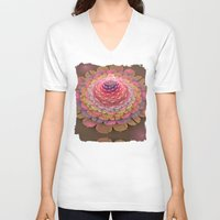 fairy tale V-neck T-shirts featuring Fairy-tale Trumpet Flower by thea walstra