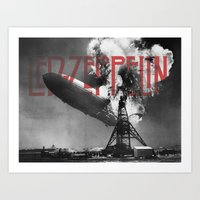 led zeppelin Art Prints featuring Zeppelin by Blaz Rojs