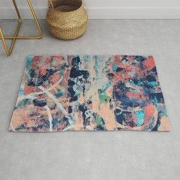 030.4: a vibrant abstract design in dark blue pink and peach by Alyssa Hamilton Art Rug