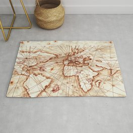 Vintage route map of the world - Leonardo Da Vinci Rug