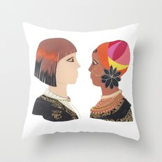 Indigenous African Society with Modern Day Civilization Throw Pillow