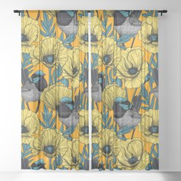 Fairy wren and poppies in yellow Sheer Curtain