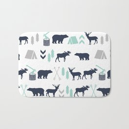Camper pattern minimal nursery basic grey navy mint white camping cabin chalet decor Bath Mat