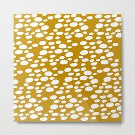 Monstera Leaf Hole Pattern - mustard yellow Metal Print