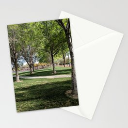 Beautiful Day at a Park | Vibrant Green Trees | Grass | Outdoors Stationery Cards