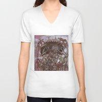 fog V-neck T-shirts featuring Fog by Anna Oparina