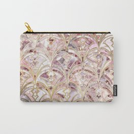 Dusty Rose and Coral Art Deco Marbling Pattern Carry-All Pouch