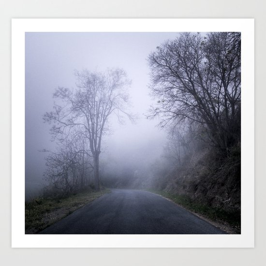"""""""Mountain road"""". Into the woods. Art Print"""