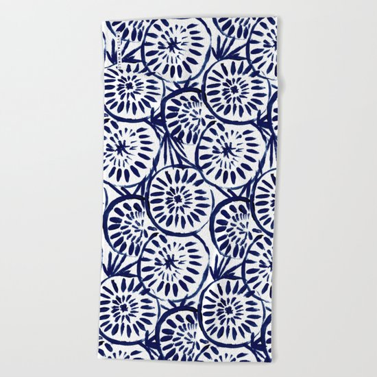 Painted Medallions Navy Beach Towel