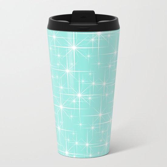 Blue Tiffany Glitters Stars Metal Travel Mug