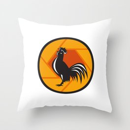 Rooster Crowing Shutter Circle Retro Throw Pillow