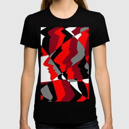 Profiles in Red, Maroon, Black, Gray and White T-shirt