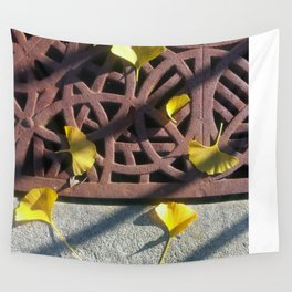 Grate and Ginko Leaves Wall Tapestry
