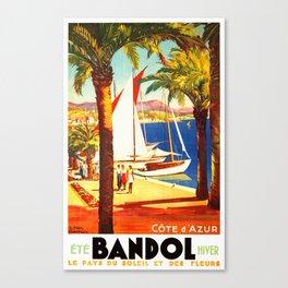 Vintage Bandol France Travel Poster Canvas Print