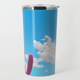 Pink Saguaro Against Blue Cloudy Sky Travel Mug