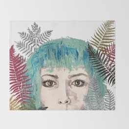 Blue-haired girl with leaves Throw Blanket
