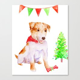 Watercolor Pet Portrait Dog Terrier Christmas Canvas Print