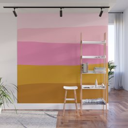 Abstract Organic Color Blocking in Pink and Honey Gold Wall Mural