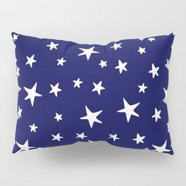 Stars - White on Navy Blue Pillow Sham