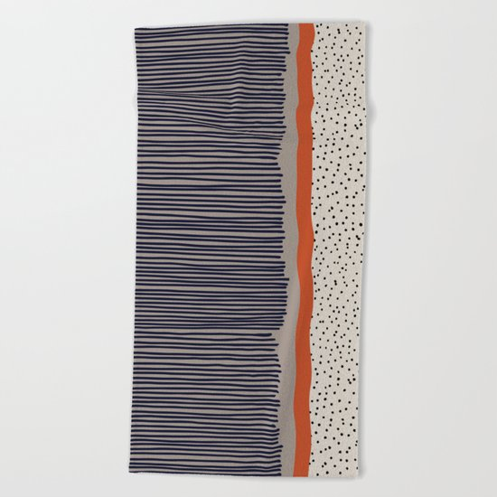 stripes and dots Beach Towel